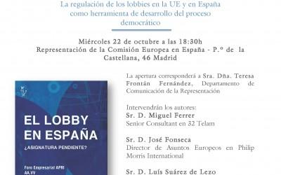 22/10: Mesa Redonda sobre lobby y regulación en la Representación de la Comisión UE