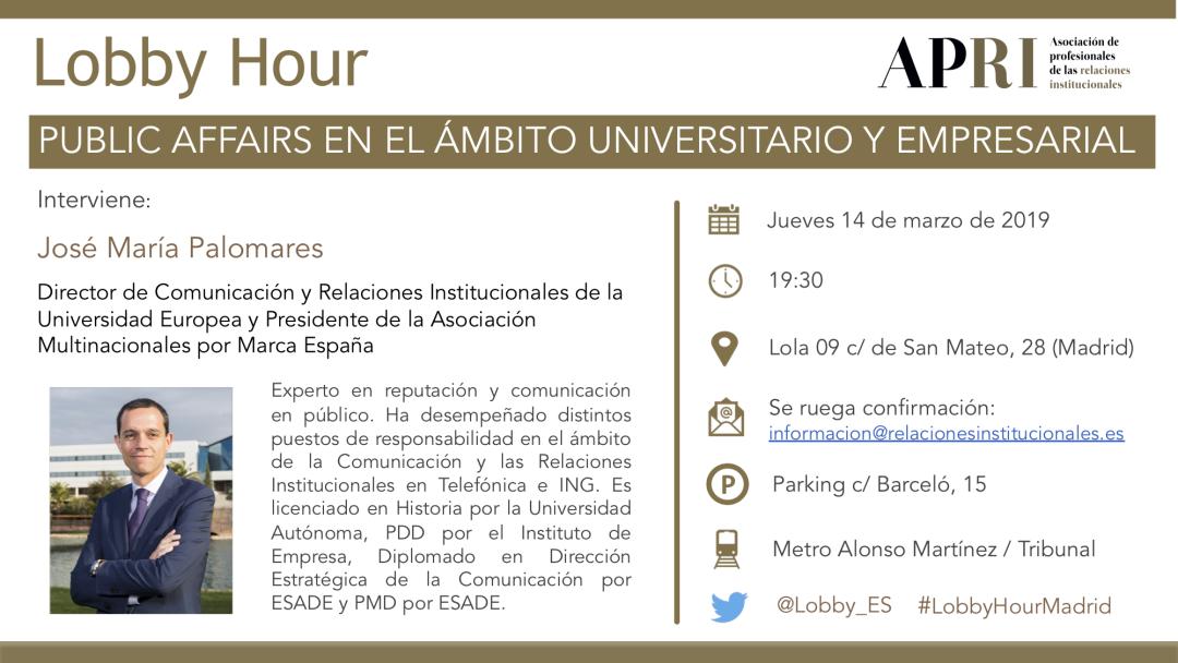 14 de marzo – Lobby Hour: Public Affairs en el Ámbito Universitario y Empresarial