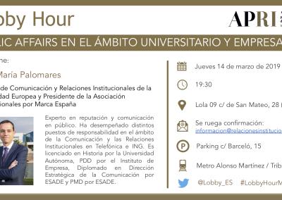 14 de marzo 2019 – Lobby Hour: Public Affairs en el Ámbito Universitario y Empresarial