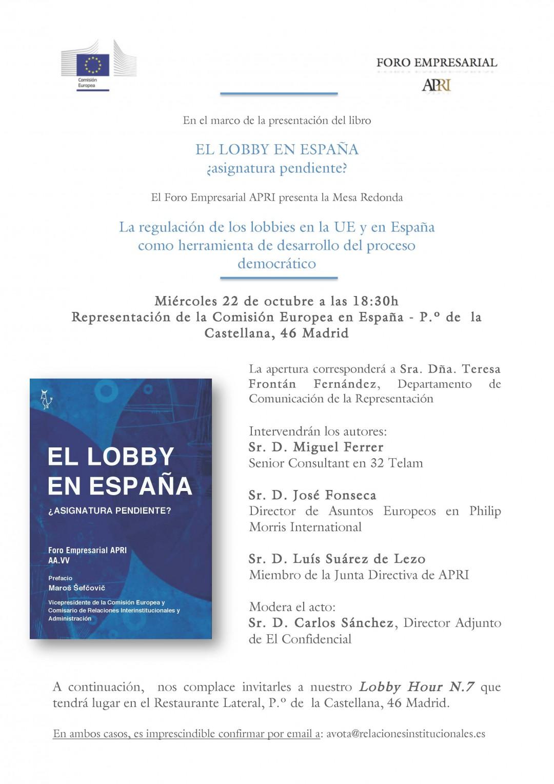 Mesa Redonda sobre lobby y regulación en la Representación de la Comisión UE