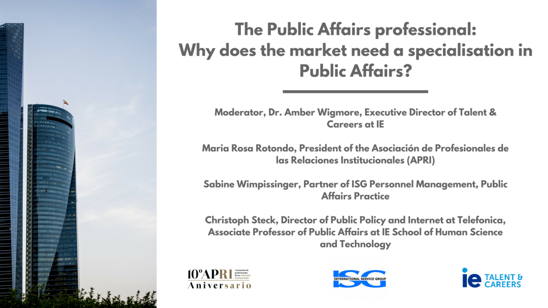 The Public Affairs professional: Why does the market need a specialisation in Public Affairs?