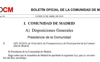 Publicada la Ley 10/2019 de Transparencia y Participación de la Comunidad Madrid que regula el registro de grupos de interés
