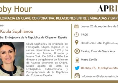 26 de septiembre 2019 – Lobby Hour: La Diplomacia en clave corporativa. Relaciones entre embajadas y empresas
