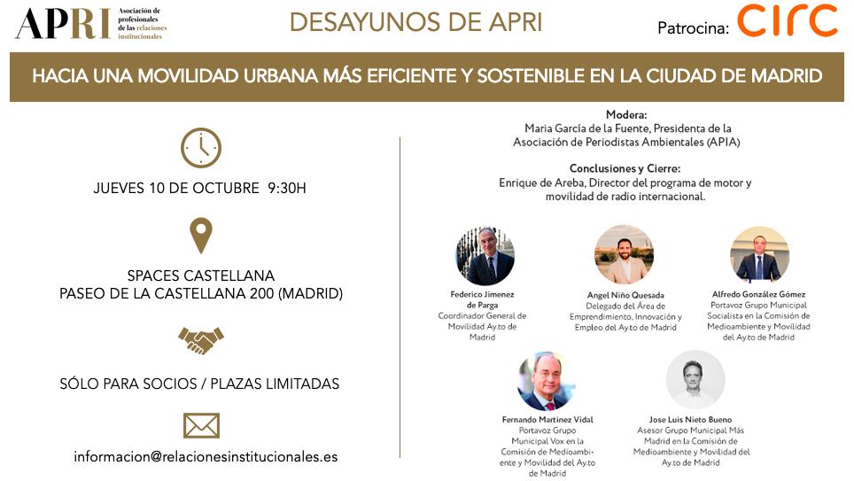Desayunos APRI –  Hacia una movilidad urbana más eficiente y sostenible en la ciudad de Madrid –