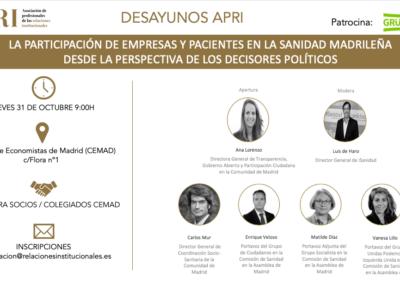 Desayunos APRI – La participación de empresas y pacientes en la sanidad madrileña desde la perspectiva de los decisores políticos