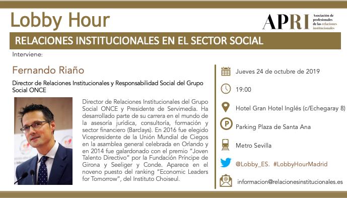 24 de octubre – Lobby Hour: Relaciones Institucionales en el Sector Social