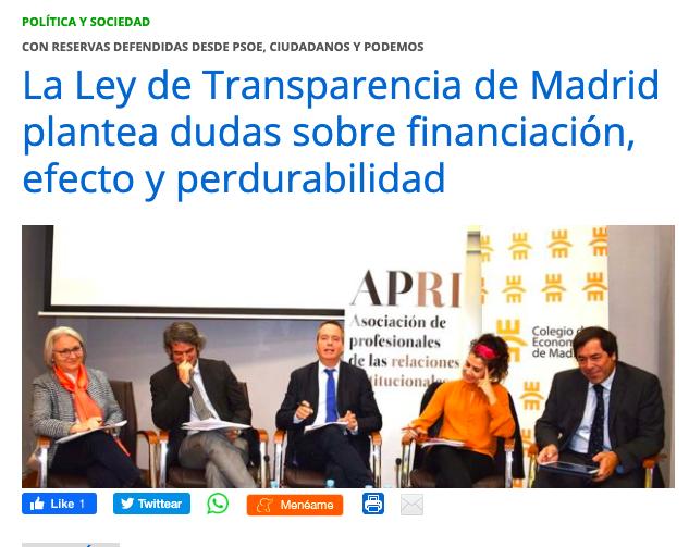 La Ley de Transparencia de Madrid plantea dudas sobre financiación, efecto y perdurabilidad