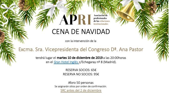 10 de diciembre – Cena de Navidad de APRI con la Vicepresidenta del Congreso DªAna Pastor