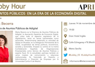 14 de noviembre – Lobby Hour: Asuntos Públicos en la Era de la Economía Digital