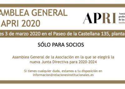 3 de marzo 2020- Asamblea General de APRI 2020