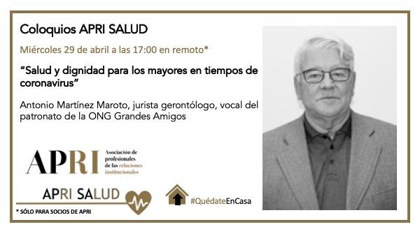 """29 de abril 2020 – APRI Salud: """"Salud y dignidad para los mayores en tiempos de coronavirus"""""""