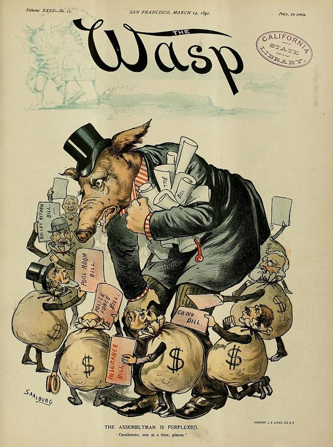 Caricatura de 1891 sobre la actividad de los grupos de presión en Estados Unidos (Dominio público)